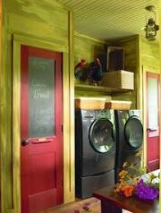 Laundry room in a log and timber home, http://www.hearthstonehomes.com