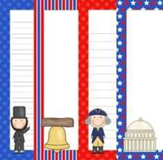 """This fun Presidents Day themed writing paper is great for students to write short stories or draw pictures. The paper measures 7.5"""" wide by 10"""" tall when printed.   Included are four designs, President Lincoln, the Capital, President Washington and the Liberty Bell."""