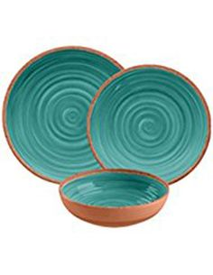 Details about Rustic Swirl 12 Piece Melamine Dinnerware Set in Turquoise by TarHong  sc 1 st  Pinterest & Juliska Berry \u0026 Thread Melamine Whitewash Dessert/Salad Plate ($18 ...