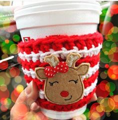 crochet coffee cozy, reindeer crochet cozy, coffee sleeve,teacher gift, winter fall coffee cozy, Christmas cozy gift, stocking stuffer  A personal favorite from my Etsy shop https://www.etsy.com/listing/471365286/crochet-coffee-cozy-reindeer-crochet