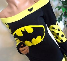 Yellow Batman Off Shoulder Top. Cute!