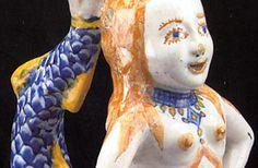 Aquamanil Sereia, Faiança policromada (pormenor), Portugal, Séc. XVII (2.º quartel).  Fundação Carmona e Costa, Lisboa