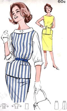 """1960s Junior Jumper and Blouse with Slim Skirt Vintage Sewing Pattern, Butterick  9631 Bust 33"""" uncut"""