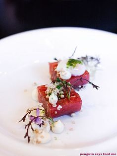 Sepia Restaurant 06 by jacq @ penguin says feed me, via Flickr Stew Meat Recipes, Gourmet Recipes, Food Plating, Plating Ideas, Sydney Restaurants, Tapas, Best Chef, Food Goals, Culinary Arts