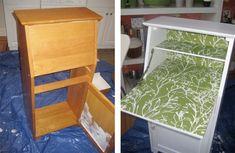 using wallpaper to redo old furniture