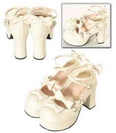 日本代购bodyline蝴蝶结鞋粗高跟 洛丽塔lolita 松糕鞋