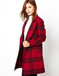 Karen Millen Oversize Overcoat in Check via Asos