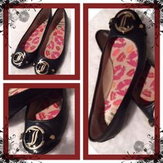 ✂️Last Call✂️🐶Juicy Couture slip ons✨✨✨⬇️💲💲Firm Excellent condition, very trendy gold hardware✨✨✨ Juicy Couture Shoes Flats & Loafers