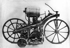 10 November 1885 - Gottlieb Daimler takes the first internal combustion motorcycle Reitwagen for a test ride. The motorcycle, essentially an engine attached to a wooden bike, was a key moment in history as it demonstrated that the two could be combined. Although steam-powered bikes existed before, this was the first to be gasoline-driven. #HistSci  © Jacques Boyer/Getty Images