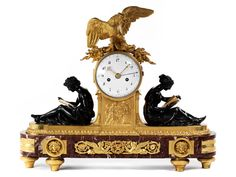 Major Louis XVI mantel clock in fire-gilded bronze with burnished bronze figures and red marble base Old Clocks, Antique Clocks, Louis Xvi, Bronze, French Clock, Clock Shop, Retro Clock, French Empire, Old World Style