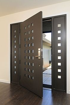 Searching for modern front design ideas? Live Enhanced brings a collection of modern front door design ideas that will give your house/office an attractive look. Home Door Design, Front Door Design, House Design, Contemporary Front Doors, Modern Front Door, Front Entry, Modern Contemporary, Modern Entry, Modern Entrance
