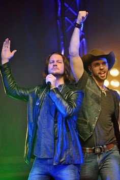 Tim Foust and Chris Rupp of Home Free performs at Bomhard Theater on October 22 2014 in Louisville Kentucky