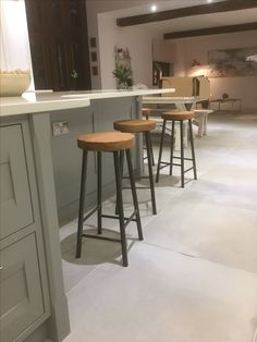 Oak and steel round frame bar stool