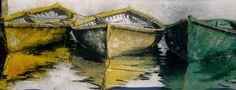 """naples yellow  indian yellow n viridian dories 14"""" x 40""""  micheal zarowsky watercolour on arches paper / private collection"""