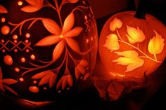 Carved floral pumpkin design - grown up Halloween - autumn party - event lighting - autumn wedding