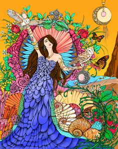 """""""Aphrodite"""" by Rochelle Fox  I was inspired by Aphrodite's loving energy and beauty, butterflies of transformation, and the warmth of the summer sun. The owls symbolize inner wisdom as we blossom and grow, stretching our arms wide open and fulfilling our potential."""