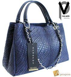 VERA PELLE  Shopper 34cm Web Leder Henkeltasche Handtasche Taupe Blau Apropos