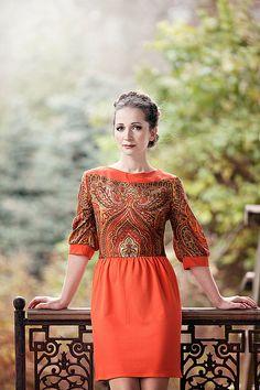 """Платье 36 размер """" Жар Птица"""" - рыжий,орнамент,аля рус,дизайнерская одежда"""