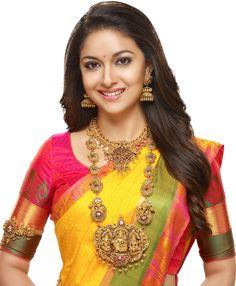 Keerthi Suresh in Temple Jewellery South Indian Bride, Indian Bridal, Indian Jewellery Design, Designer Jewellery, Jewellery Designs, Hindu Bride, Bridal Jewelry, Gold Jewelry, Quartz Jewelry