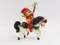 Vintage Carousel Horse with Little Boy Christmas Ornament Hard Plastic - Etagere Antiques, Vintage, Collectibles