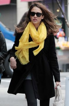 Jessica Alba - Love her style, love her coat, shade and especially love this scarf!