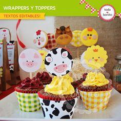 Granja niños: wrappers y toppers para cupcakes Farm Animal Party, Farm Party, Baby Boy Birthday, Farm Birthday, Baby Cupcake Toppers, Cupcake Cakes, Porta Cupcake, Birthday Party Decorations, Birthday Parties