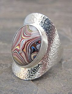 Motor Agate Fordite and Sterling Silver Ring 1083 by Fordite, $125.00