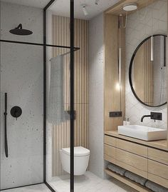 Interiors, Architecture + Life on Check out the towel rail in this beautifully compact bathroom. How clever Design by interno_izagajewska Compact Bathroom, Modern Master Bathroom, Bathroom Toilets, Small Bathroom, Wooden Bathroom, Bathroom Mirrors, Bathroom Design Luxury, Bathroom Layout, Modern Bathroom Design