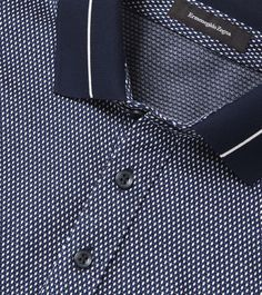 Blue/White Cotton Jacquard Shirt