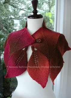 Knit Cape with leaves Autumn Leaf colors by SuzanneSullivan