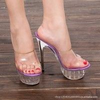 2016 New Sexy Stable Thin High Heels Flip Flops Summer Shoes Women's Heel Sandals Transparent Crystal Style Hot Heels, Sexy Legs And Heels, Black High Heels, Stilettos, Pumps Heels, Stiletto Heels, Heeled Sandals, High Heels Plateau, Platform High Heels
