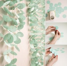 A sea green DIY paper punch backdrop. Perfect for a photo booth at a wedding, birthday party, or other event! Vitrine Design, Diy Backdrop, Paper Backdrop, Paper Bunting, Backdrop Wedding, Flower Backdrop, Diy And Crafts, Paper Crafts, Diy Party Crafts