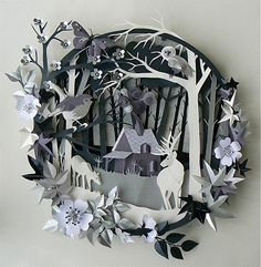 PRESENT - Paper Art - Greyscale layered paper scene. (Helen Musselwhite, 2013)