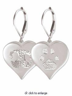 67d7920a22ba Heart Buddies 3D Pet Paw Print / Nose Print Sterling Silver Memorial  Earrings