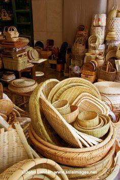 Baskets and wickerware shop in Kappabashi, Asakusa, Tokyo. Copyright ©John Lander