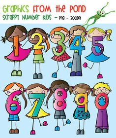 scrappy number friends clipart for teachers and teaching rh pinterest com Printable Clip Art for Teachers Math Clip Art for Teachers