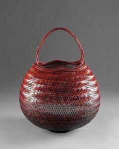 Bamboo basket by National Living Treasure of Japan, FUJINUMA Noboru 藤沼昇(人間国宝)