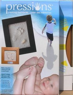 Pressions is a kit to make great prints of your babies feet,your child's hand or pet's paw. The footprints and handprints are raised prints displayed in a beautiful solid wood frame.