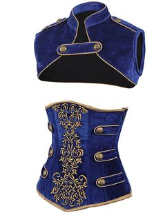 Blue Velvet Corset | Military Corsets UK