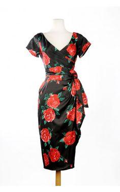 Ava Dress in Spanish Red Rose Satin