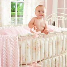 Shabby Chenille Crib Bedding | Pink Floral Baby Girl Crib Bedding | Carousel Designs