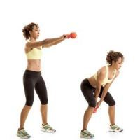 Swing- love this exercise! It get me sweaty as it builds muscle. Add crunche's and pushups to each circuit.