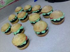 Krabby patty cupcake idea for Spongebob party i did. Yellow cake with brownie middle