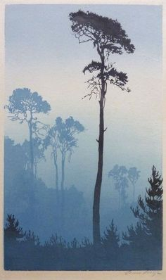 ✨ Oscar Droege (1898 - 1982) - Kiefer, Farbholzschnitt ::: Pine Tree, Colour woodcut, signed lower right in pencil, 235x402mm