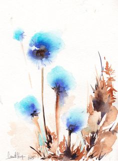 Abstract Flowers Original Watercolor Painting Blue by CanotStop