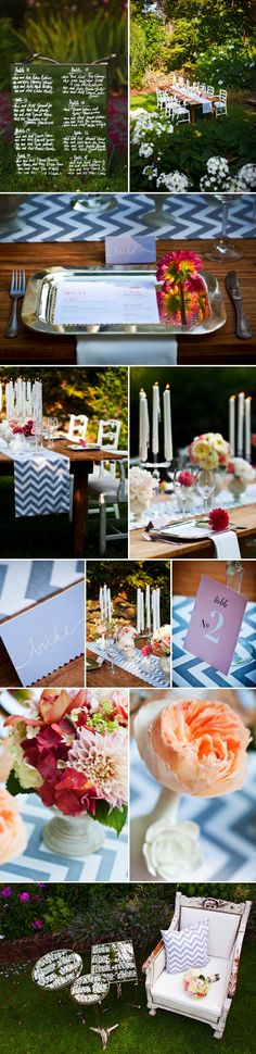 This garden wedding reception is charming, creative and pops with bright colors, photography by Holland Photo Arts