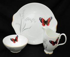 Royal Albert art deco rare Mandalay orange BUTTERFLY black cake plate large creamer and sugar bowl set xx Orange Butterfly, Mandalay, Cake Plates, Royal Albert, Teacups, Sugar Bowl, Bowl Set, Tea Pots, Art Deco