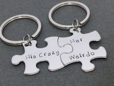 His Crazy Her Weirdo Keychains, Gift Ideas for him, Gifts for guys, Couples Keychains, Unique Gift Idea, buy here: http://tinyurl.com/mzqs2d9