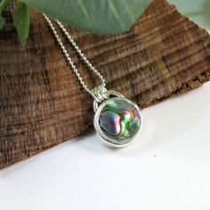 Abalone Shell Necklace, Sterling Silver & Bezel Set Paua Shell £25.00