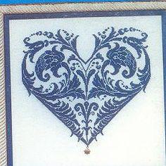 blue heart cross stitch